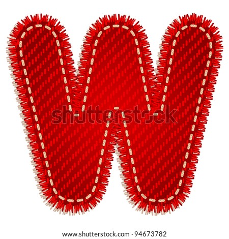 Letter W from red textile alphabet