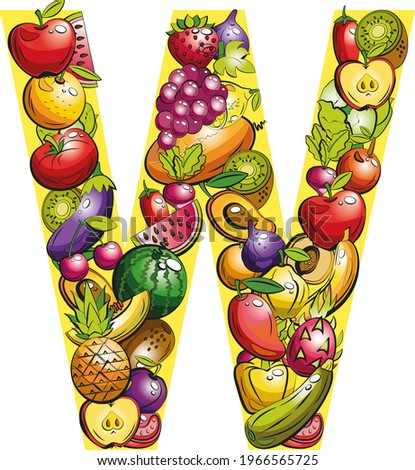 letter  W. Fruit letters. Collage of colored fruits and vegetables on the letter of the alphabet Zdjęcia stock ©