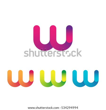 Letter W vector unusual bold rounded font. Gradient
