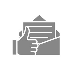 Letter with thumb up gray icon. Customer feedback, email review, online message symbol