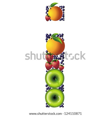 Letter written with fruits.