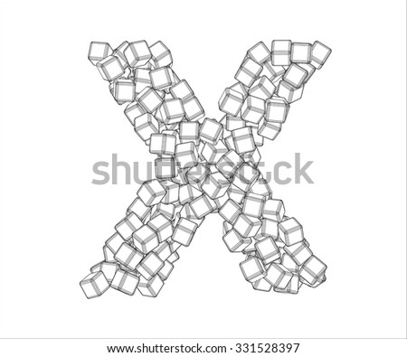 letter x from vector contours