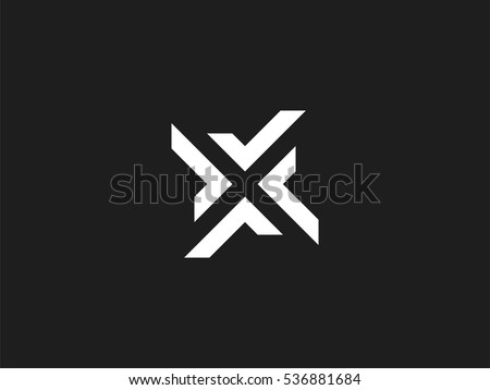 Letter X logo design concept negative space style. Abstract sign constructed from check marks. Vector elements template icon. White color