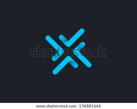 Letter X logo design concept negative space style. Abstract sign constructed from round check marks. Vector elements template icon. Blue color