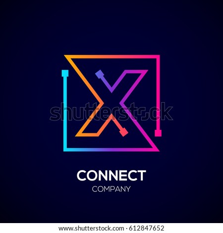 Stock Photo Letter X logo, Square shape, Colorful, Technology and digital abstract dot connection