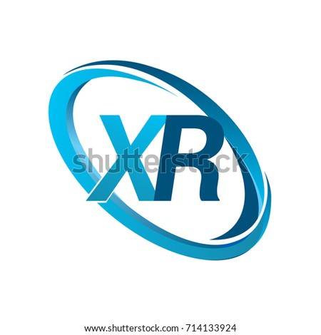 letter XR logotype design for company name colored blue swoosh. vector logo for business and company identity.