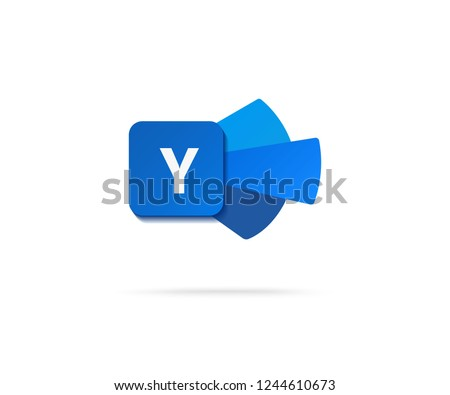 letter y  in dark blue shape