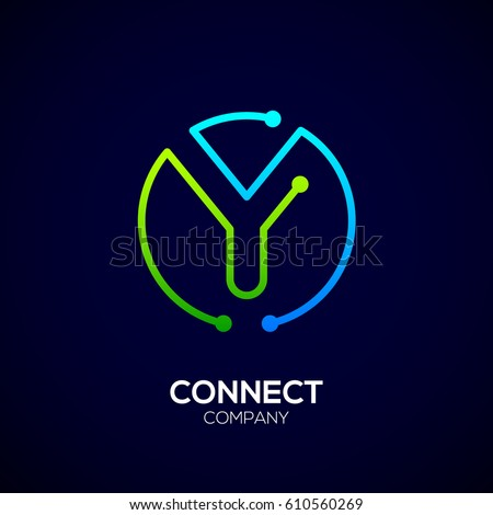 Letter Y logo, Circle shape symbol, green and blue color, Technology and digital abstract dot connection