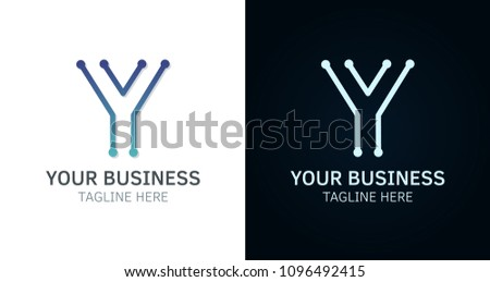 letter y minimal logo icon design vector template graphic elements technology digital interfaces