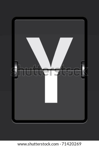 letter y  on a mechanical timetable