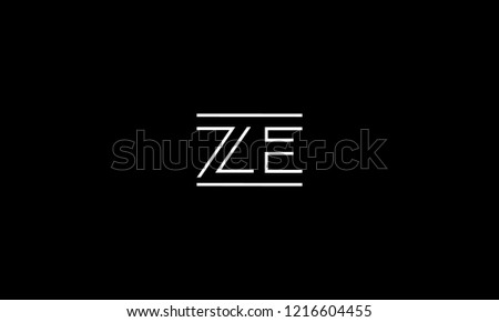LETTER Z AND E LOGO WITH NEGATIVE SPACE EFFECT FOR LOGO DESIGN OR ILLUSTRATION USE Zdjęcia stock ©