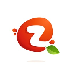 Letter Z logo in fresh juice splash with green leaves. Vector elements for natural application, ecology presentation, business card or cafe posters.