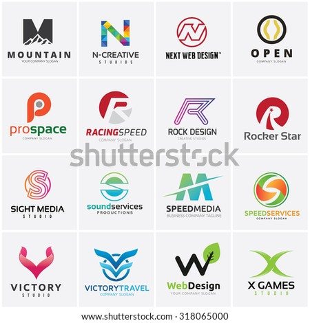 Letterforms logo set, Letter design for company name, M, N, O, S, V, W, X, mountain, Automotive, Sound, Web design, Game and creative business.