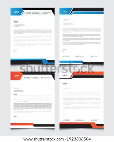 Letterhead Design,  Set of creative business letterhead for company, office business. Business Style Corporate Identity Letterhead Template.