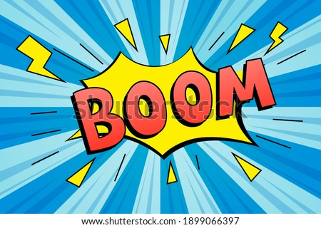 Lettering boom. Comics book abstract background. Comic text sound effects. Vector comic thunder icon speech phrase, Boom illustration. Stockfoto ©
