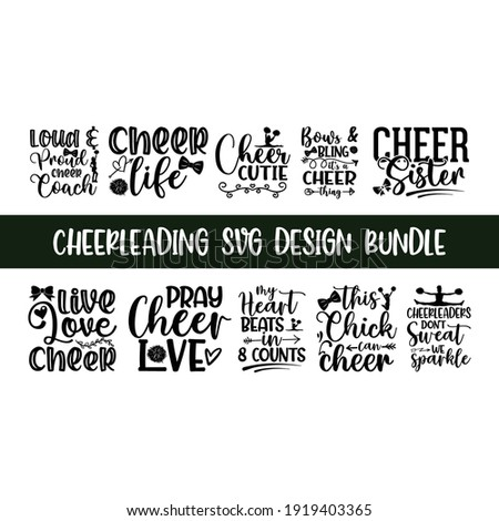 Lettering Cheerleading overlay typography set, Calligraphy style quote, Shop promotion motivation, Graphic design cheerleading lettering, and Calligraphy postcard or poster graphic design typography e ストックフォト ©