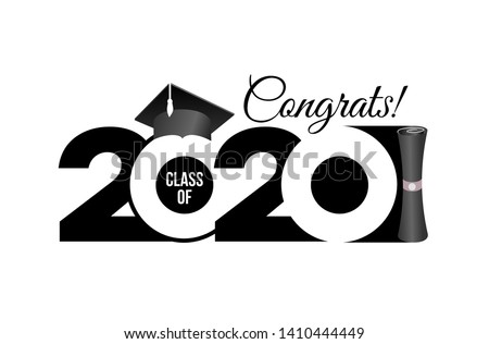 Lettering Class of 2020 for greeting, invitation card. Text for graduation design, congratulation event, T-shirt, party, high school or college graduate. Vector isolated on white background.