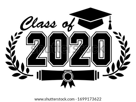 Lettering Class of 2020 for greeting, invitation card. Text for graduation design, congratulation event, T-shirt, party, high school or college graduate. Illustration, vector