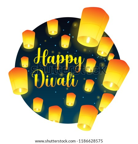 Lettering congratulation happy Divali with paper lanterns. Postcard with night sky and bright lanterns. Vector illustration.