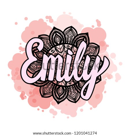 lettering female name emily on