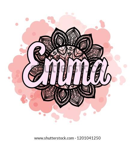 lettering female name emma on