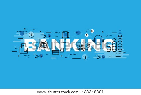 Lettering flat line design concepts of Banking,Thin line flat design banners for website,web banner, presentation and printing