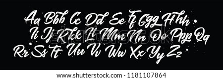 Lettering font isolated on black background. Texture alphabet. Vector logo letters.