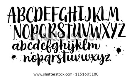 Lettering font isolated on white background. Hand drawn alphabet. Calligraphy typeface for Logo, Poster, Invitation, etc. Vector logo letters.  Stock photo ©