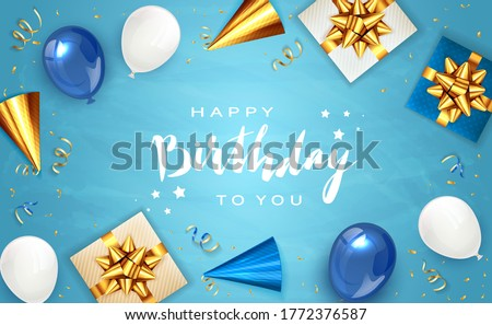 Lettering Happy Birthday on blue background with holiday balloons, party hat, realistic gifts with golden bows and balloons. Illustration can be used for holiday design, posters, cards, banners.