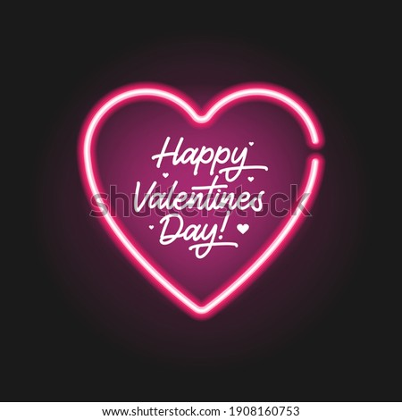 Lettering Happy Valentines Day banner. Vector flat illustration. Poster with hand written calligraphy text, neon hearth isolated on black background.