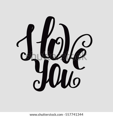 """Lettering """"I love you"""" calligraphic font, hand drawing. Individual font. Declaration of love. Twisted inscription. Light background"""