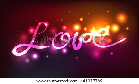 lettering love abstract neon