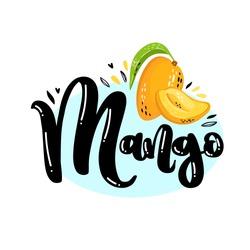 Lettering Mango logo with ripe juicy fruit Mango. Colorful logo for Juice, Lemonade, Cream, Chocolate, Tea, Drinks