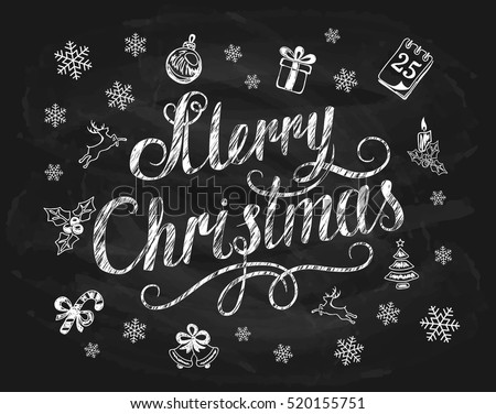 Lettering Merry Christmas written in white chalk with snowflakes and decorative elements on a black chalkboard, holiday lettering, illustration.