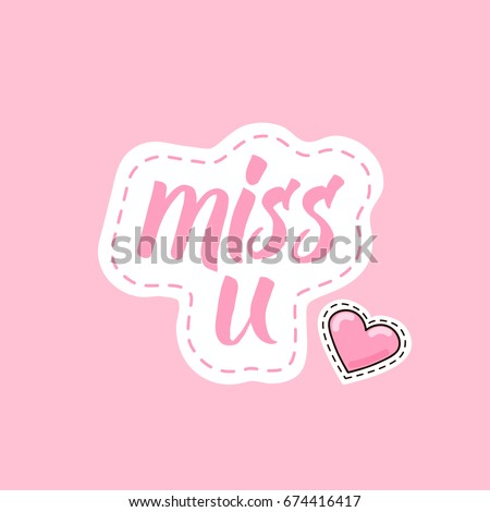 lettering miss u with pink