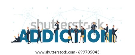 lettering of addiction concept with people are using laptop and smartphones for addicted to gadgets.