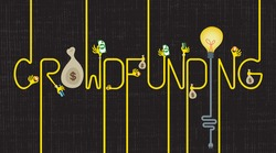 Lettering of Crowdfunding with many hands giving money and a light bulb idea.