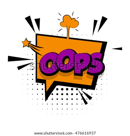 lettering 'oops' comic text