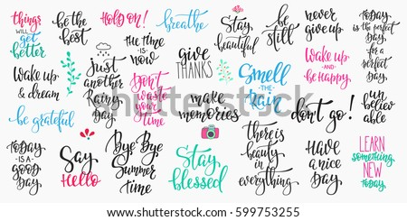 Lettering Photography Overlay Set Motivational Quote Sweet Cute Inspiration Typography Calligraphy Photo Graphic