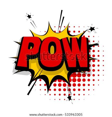 lettering pow  shoot gun comic