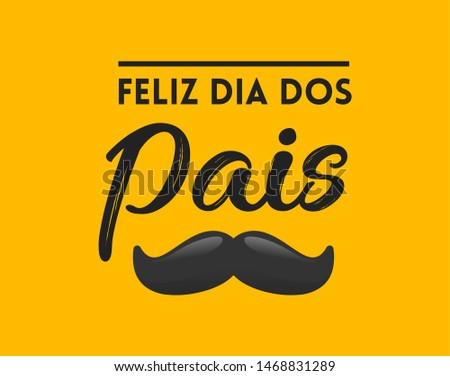 Lettering script calligraphy handwriting happy fathers day with hat and bow tie in portuguese