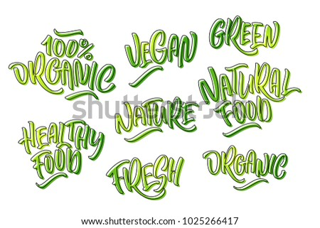 Lettering set for natural products in green colors. Handwritten logo fresh, organic, Vegan, green, natural food, 100% natural, Nature, Healthy food. Vector text