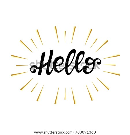 lettering sign  hello  isolated