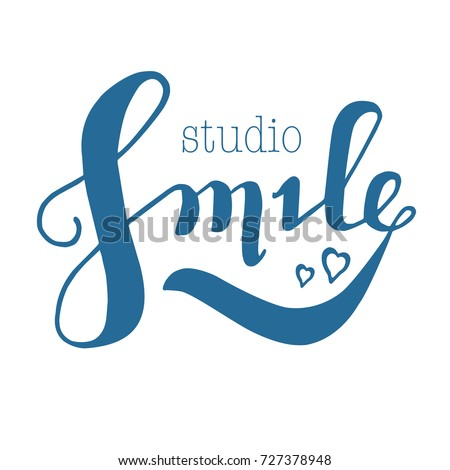 Lettering : SMILE studio, SMILE vector lettering typography. Hand sketched SMILE lettering sign.Smile icon, banner, tag. Vector illustration