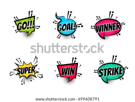 Lettering super, goal, winner, strike, go. Set comics book balloon. Bubble icon speech phrase. Cartoon exclusive font label tag expression. Comic text sound effects. Sounds vector illustration.