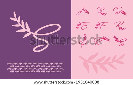 Letters A, B, D, E, F, K, P, R, S Leaf logo and branding kit for beauty and women style businesses Stock fotó ©