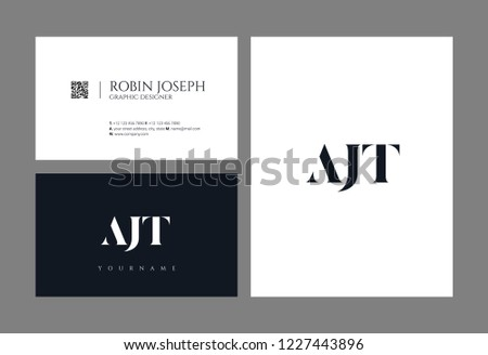 Letters AJT joint logo icon with business card vector template. Stock fotó ©