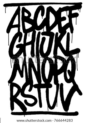 Letters. Alphabet. Graffiti style. Airbrush/Marker Tagging.