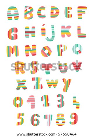 Letters and numbers in colorful stripes.