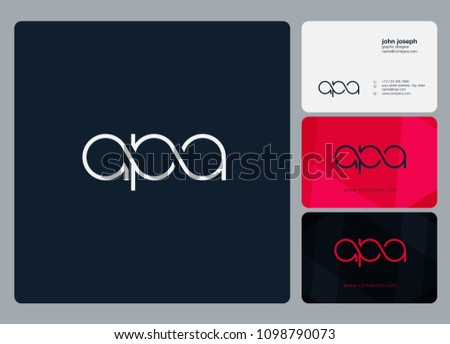 Letters APA logo icon with business card vector template. Stok fotoğraf ©